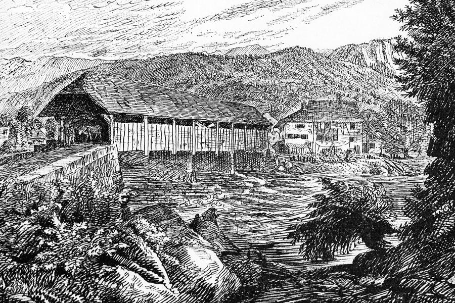 Holzbrücke über die Sihl (Baujahr ca. 1763) am früheren Standort beim «Adler» etwa 100 m flussaufwärts der heutigen Bahnhofbrücke. Durch Hochwasser zerstört im Jahre 1846.
